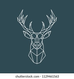Polygonal deer portrait. Geometric animal illustration. Reindeer poster. Scandinavian style. Vector print.