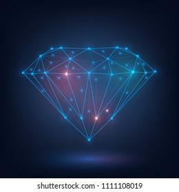 Polygonal diamond, brilliant of glowing mesh