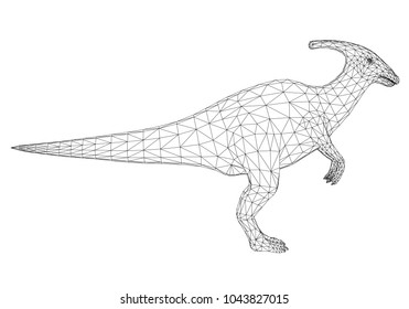 Polygonal dinosaur side view. Dinosaur isolated on white background. The dinosaur is covered with a 3D polygon mesh. Vector illustration.
