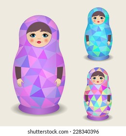 Polygonal dolls - matryoshka. Vector illustration