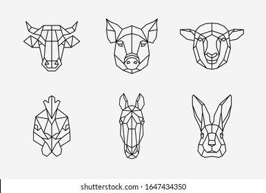 Polygonal domestic animals set, geometric cow, pig, sheep, hen, horse, rabbit. Vector illustration.