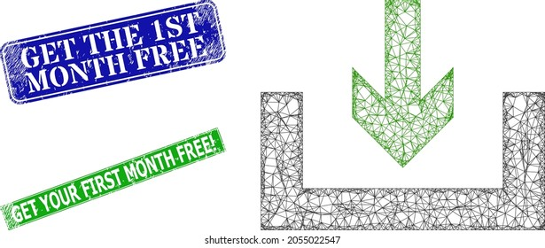 Polygonal download box image, and Get the 1St Month Free blue and green rectangle textured watermarks. Polygonal carcass illustration created from download box pictogram.
