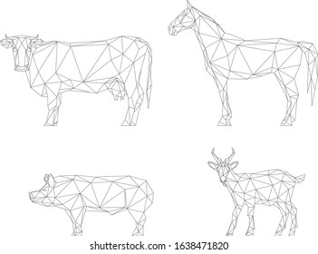 Polygonal factory animals, cow, horse, goat, pig, vector illustration isolated on white
