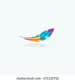 Polygonal feather vector design, colorful bird feather logo