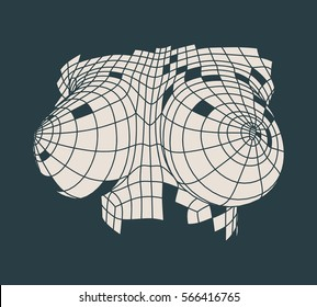 Polygonal female breast. Wire frame style. Vector illustration