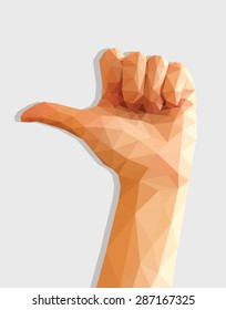polygonal female hand thumb left direction indicator low poly.