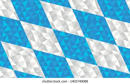 Polygonal flag of Free State of Bavaria, Germany region national symbol background low poly style vector illustration eps