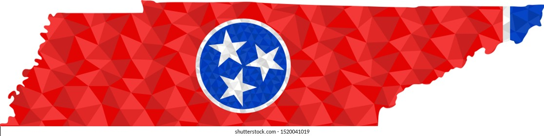 Polygonal flag of Tennessee on contour of the state map. Low poly style vector illustration eps
