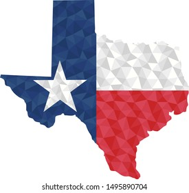 Polygonal flag of Texas on contour of the country map. Low poly style vector illustration eps
