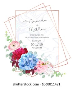 Polygonal floral vector design frame with marble textured background. Light blue hydrangea, burgundy red and white peony, pink ranunculus, eucalyptus, greenery.Wedding card.Pink gold line art.Isolated