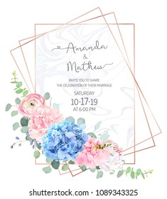 Polygonal floral vector design frame with marble textured background.Light blue and pink hydrangea,white peony,  ranunculus, eucalyptus, greenery.Wedding card.Pink gold line art. Isolated and editable