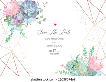 Polygonal floral vector design frame with glitter. Pink protea, blue echeveria succulent, eucalyptus, greenery. Wedding horizontal card. Gold line art.All elements are isolated and editable