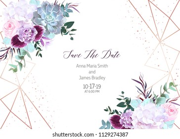 Polygonal floral vector design frame with glitter. White hydrangea, pink rose, purple carnation, orchid, succulent, eucalyptus, greenery.Wedding horizontal card.Gold line art.All elements are isolated