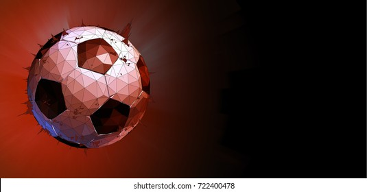 Polygonal football or soccer ball with star burst on red space background