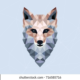 Polygonal fox. Vector illustration. T-shirt design and printing.