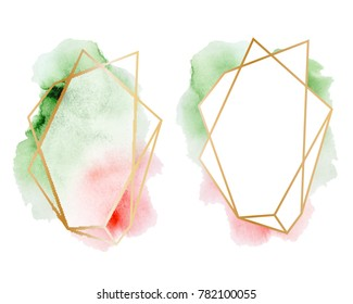 polygonal frames set. Gold glitter triangles, geometric shapes. Diamond shape with watercolor washes. Minimal template for creative designs, card, invitation,