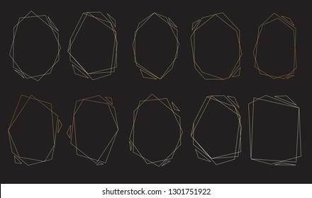 Polygonal frames set. Gold triangles, geometric shapes.