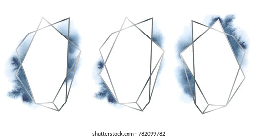 polygonal frames set. Silver glitter triangles, geometric shapes. Diamond shape with watercolor washes. Minimal template for creative designs, card, invitation,