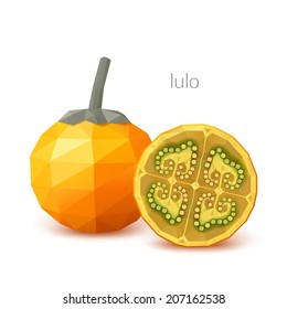 Polygonal fruit - lulo. Vector illustration