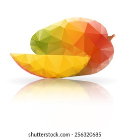 Polygonal fruit - mango. Vector illustration isolated