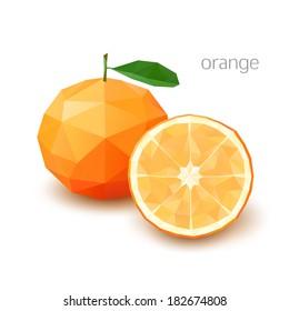 Polygonal fruit - orange. Vector illustration