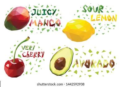 Polygonal fruit set colorful designs isolated on white background. mango, lemon, cherry, avocado. Vector illustration