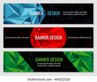 Polygonal geometric abstract banner vector design template. Business brochure with geometry pattern illustration