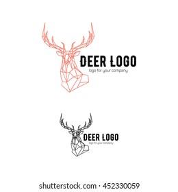 Polygonal geometric low poly style logotype. Deer head linear wire construction sample logo.