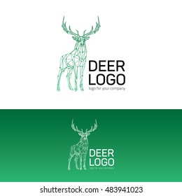 Polygonal geometric low poly style logotype. Deer linear wire construction sample logo.