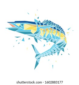 Polygonal geometric low poly vector wahoo fish for t-shirt design