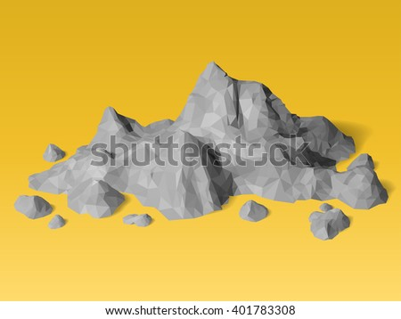 polygonal geometric mountain scene low poly stock vector royalty