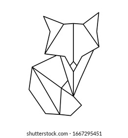 Polygonal geometric outline illustration of fox isolated on white. Contour for tattoo, logo, emblem and design element.
