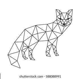 Polygonal geometric outline illustration of fox isolated on white