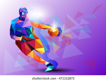 Polygonal geometric professional basketball player on colourful low poly background