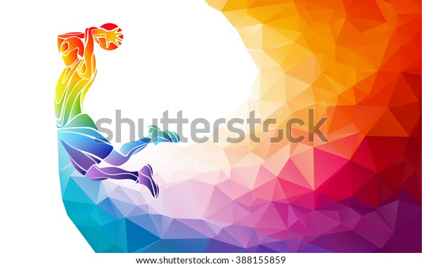 Polygonal geometric professional basketball player on colorful low poly background doing jump shot with space for text. Slam dunk vector illustration