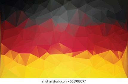 Polygonal german flag. Background low poly style