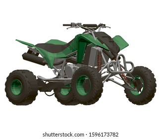 Polygonal green ATV isolated on a white background. View isometric. 3D. Vector illustration