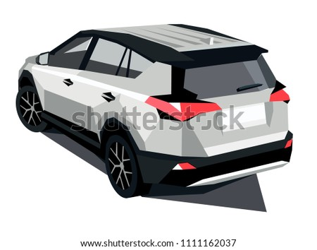 Polygonal Grey White Car Top View Stock Vector Royalty Free