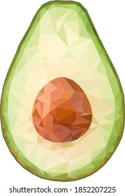 Polygonal half an avocado vector illustration