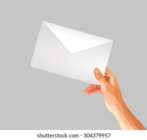 polygonal hand holding an envelope format C6 C5