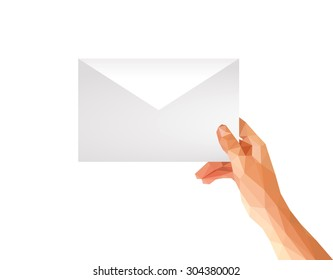polygonal hand holding an envelope format C5 C6 on a white background