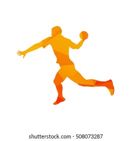 Polygonal handball player, abstract orange isolated vector silhouette
