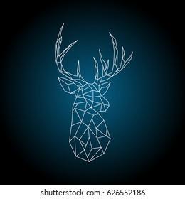 Polygonal head deer on dark blue background. Vector illustration.