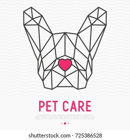 Polygonal head of french bulldog with nose in heart shape. Pet care concept for vet clinic, pet shop or adoption centre. Vector illustration of dog silhouette.