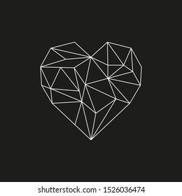 Polygonal heart in black&white colors