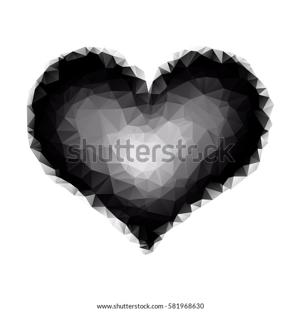 polygonal heart on a white background