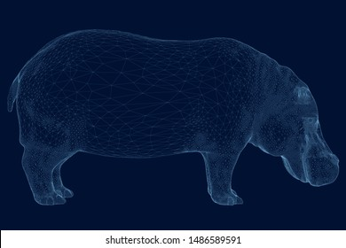 Polygonal hippo from blue lines on a dark background. Hippo wireframe. Side view. 3D. Vector illustration.