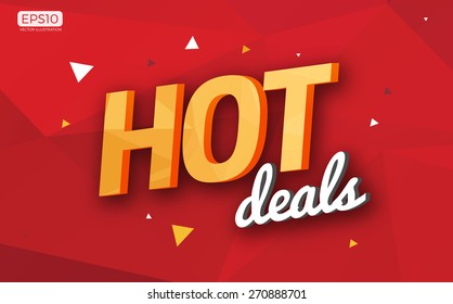 Polygonal Hot Deals Sign Icon Vector Illustration