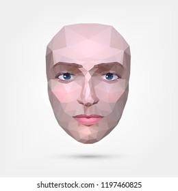 Polygonal human face, origami, triangular pattern. Mask