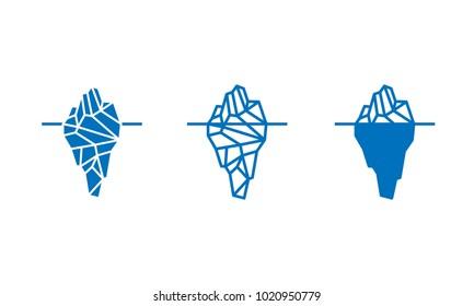 Polygonal iceberg in flat style icon. Vector illustration set